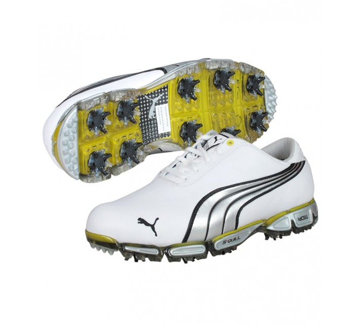 PUMA GOLF SHOES SUPER CELL FUSION 3 PRO WHITE/BLACK/SILVER/YELLOW