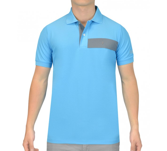 OSCAR JACOBSON GUSTAF GOLF SHIRT LIGHT BLUE - AW15