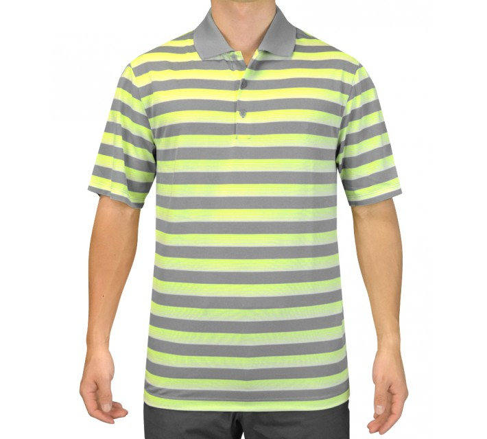 NIKE TECH VENT STRIPE POLO DOVE GREY/VOLT - SS15 CLOSEOUT