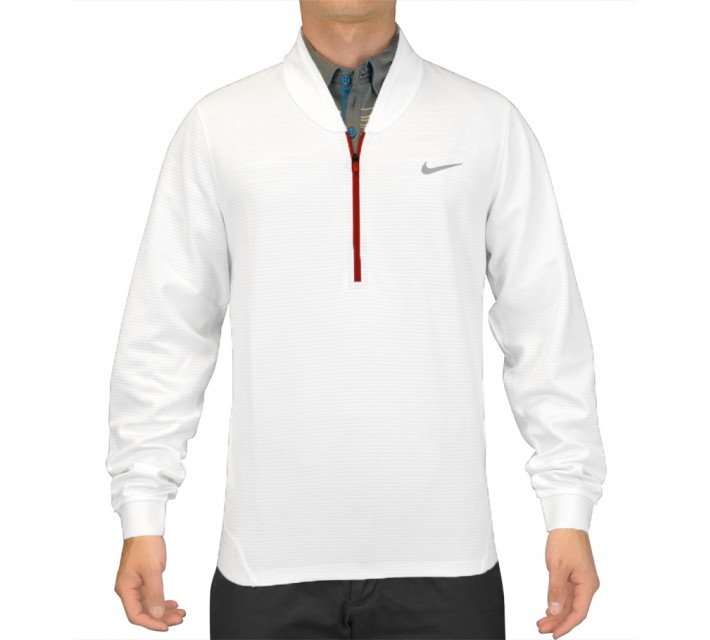 TIGER WOODS CYPRESS SHIELD 1/2 ZIP TOP WHITE - SS15 CLOSEOUT
