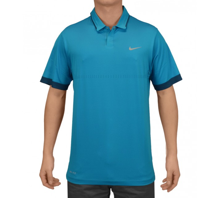 TIGER WOODS PERFORATED POLO LT BLUE LACQUER - SS15 CLOSEOUT