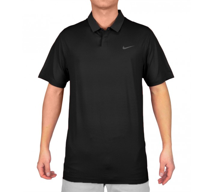 TIGER WOODS SEASONAL EMBOSSED POLO BLACK - SS15 CLOSEOUT