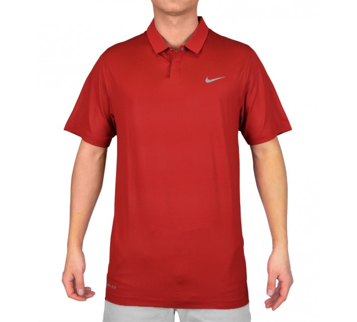 TIGER WOODS SEASONAL EMBOSSED POLO GYM RED - SS15 CLOSEOUT