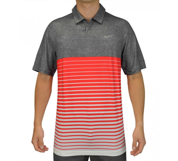 TIGER WOODS BOLD STRIPE POLO CLASSIC CHARCOAL - SS15 CLOSEOUT