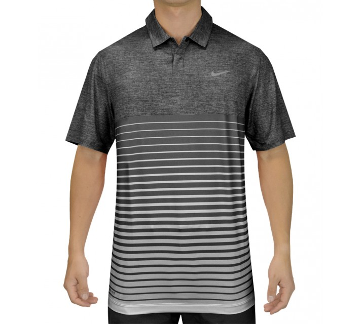 TIGER WOODS BOLD STRIPE POLO BLACK - SS15 CLOSEOUT