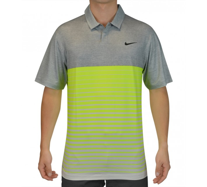 TIGER WOODS BOLD STRIPE POLO DOVE GREY - SS15 CLOSEOUT