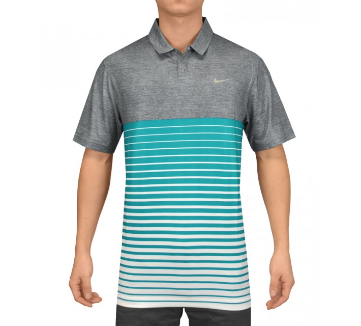 TIGER WOODS BOLD STRIPE POLO BLUE GRAPHITE - SS15 CLOSEOUT