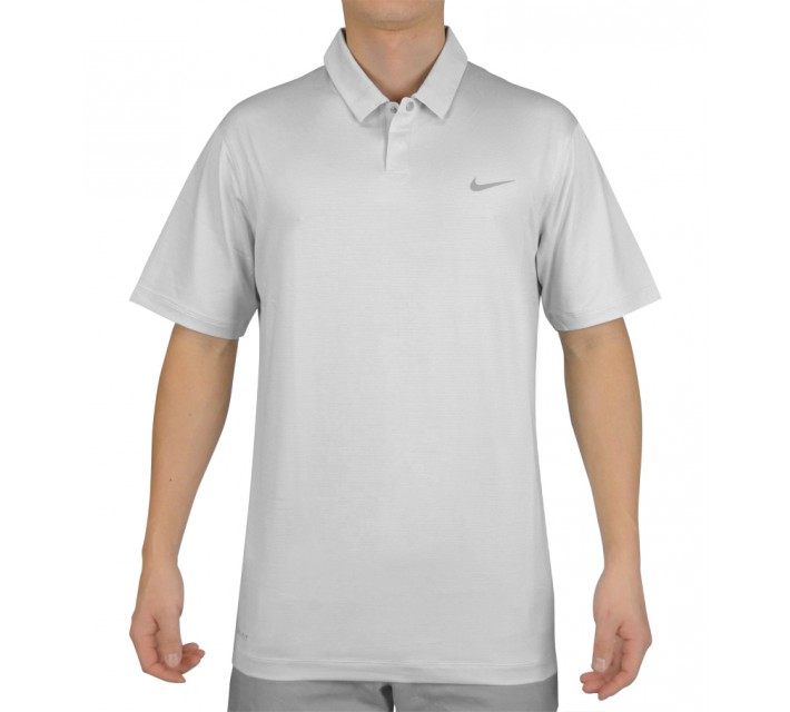 TIGER WOODS CONTROL STRIPE POLO PURE PLATINUM - SS15 CLOSEOUT