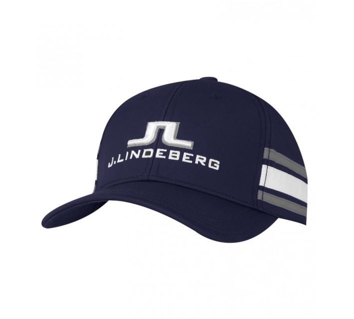 J. LINDEBERG ABER TECH STRETCH CAP NAVY PURPLE - SS15