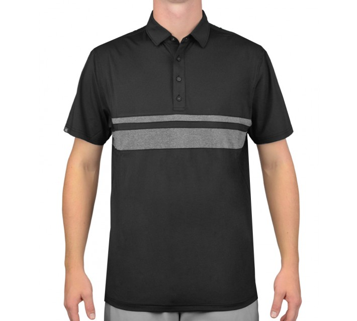 MATTE GREY ANDERS GOLF POLO BLACK/CHARCOAL HEATHER - AW15