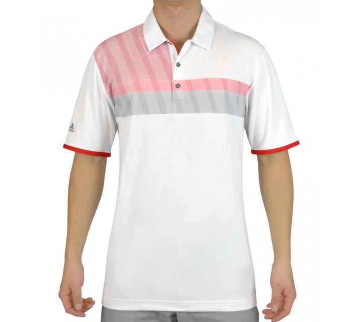 ADIDAS CLIMACHILL MERCH STRIPE POLO WHITE/RED - SS15