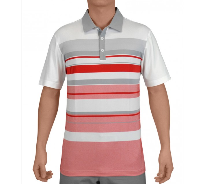 ADIDAS CLIMACOOL SPORT PERFORMANCE STRIPE POLO WHITE/RED - SS15