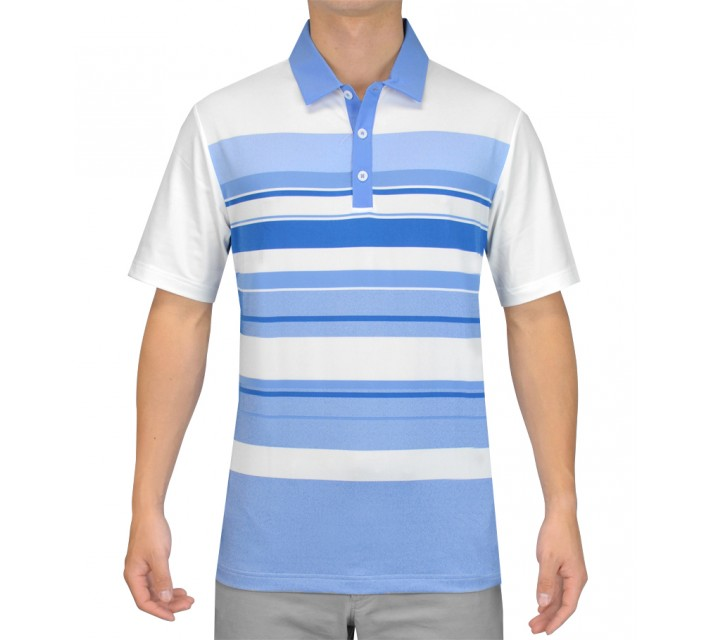 ADIDAS CLIMACOOL SPORT PERFORMANCE STRIPE POLO WHITE/BAHIA BLUE - SS15