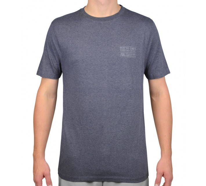 MATTE GREY BADGE PRINT T- SHIRT NAVY HEATHER - AW15