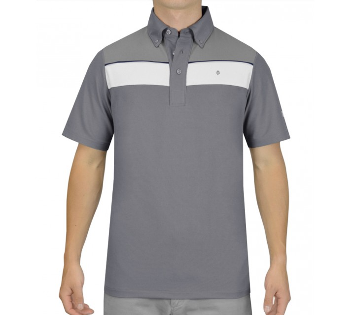 OSCAR JACOBSON BARRY GOLF SHIRT GREY - SS15