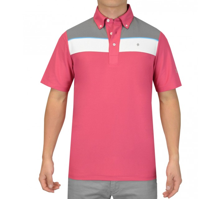 OSCAR JACOBSON BARRY GOLF SHIRT PINK - SS15