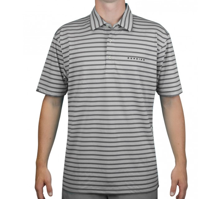DUNNING STRETCH BASIC STRIPE JERSEY POLO LT GREY - AW15