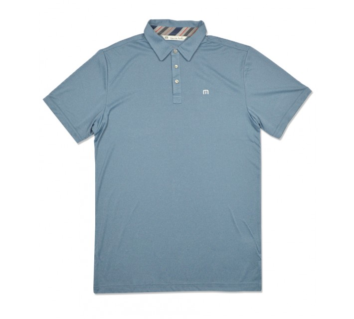 TRAVISMATHEW BEACHCOMBER GOLF SHIRT HEATHER BLUE GROTTO - SS16
