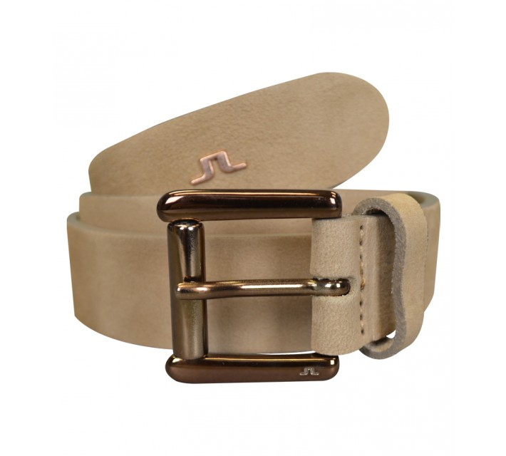 J. LINDEBERG SHARPER BRUSHED LEATHER BELT BEIGE - SS15