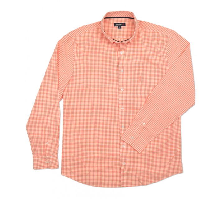 JOHNNIE-O BERNER WOVEN GINGHAM SHIRT CORAL REEF - SS16