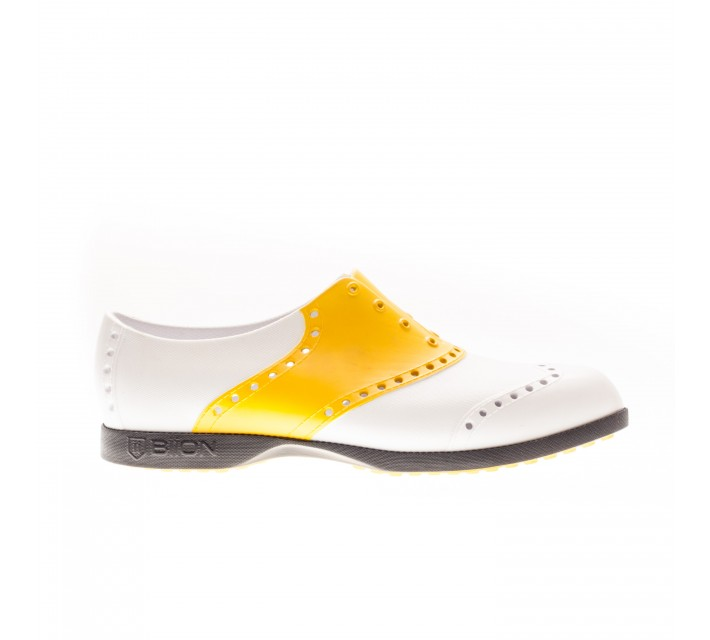 BIION FOOTWEAR THE SADDLES GOLF SHOE WHITE/YELLOW - SS16