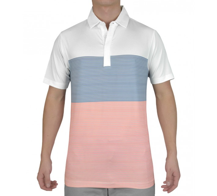 MATTE GREY BLOCK GOLF POLO WHITE - SS15