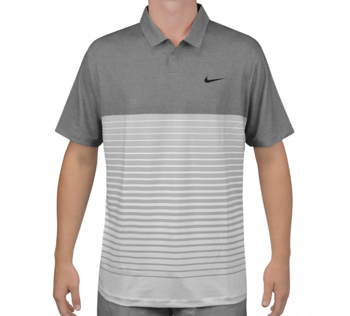 TIGER WOODS BOLD STRIPE POLO DARK GREY/PURE PLATINUM - AW15 CLOSEOUT