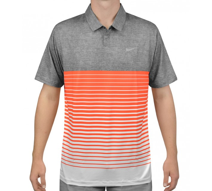 TIGER WOODS BOLD STRIPE POLO DARK GREY/ELECTRO ORANGE - AW15 CLOSEOUT