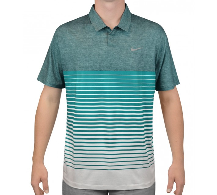 TIGER WOODS BOLD STRIPE POLO TEAL/RADIANT EMERALD - AW15 CLOSEOUT