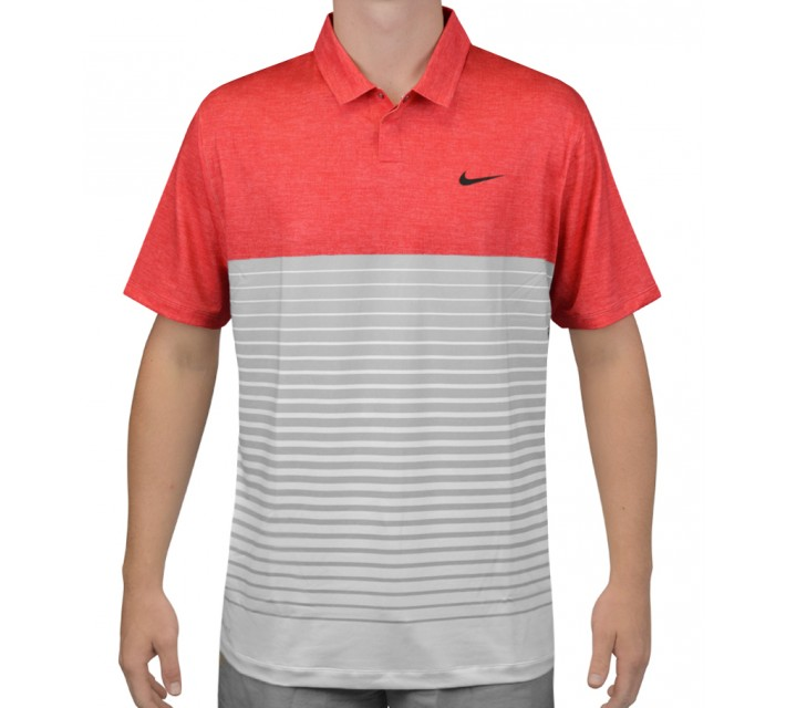 TIGER WOODS BOLD STRIPE POLO UNIVERSITY RED/WOLF GREY - AW15 CLOSEOUT