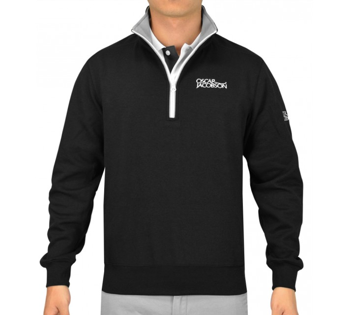 OSCAR JACOBSON BRADLEY TOUR HALF-ZIP SWEATER BLACK - SS16