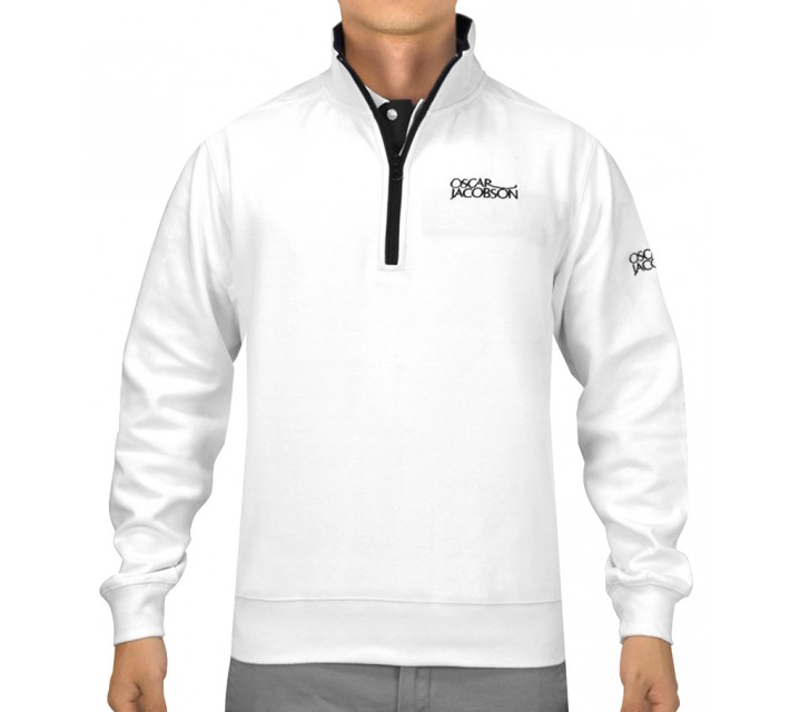 OSCAR JACOBSON BRADLEY TOUR HALF-ZIP SWEATER WHITE - SS15