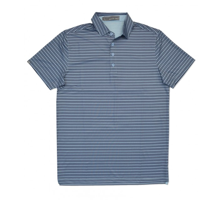 MATTE GREY BRODY GOLF POLO BAJA BLUE HEATHER/NAVY - SS16