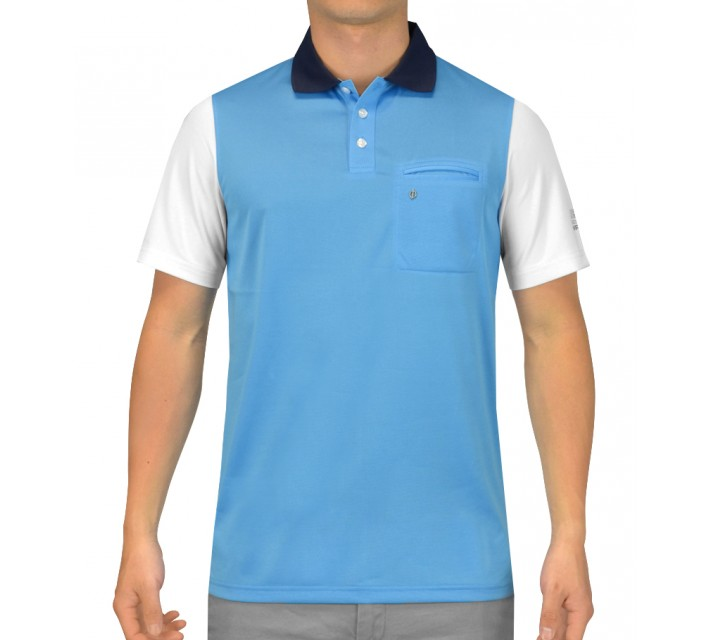 OSCAR JACOBSON BRODY GOLF SHIRT LIGHT BLUE - SS15