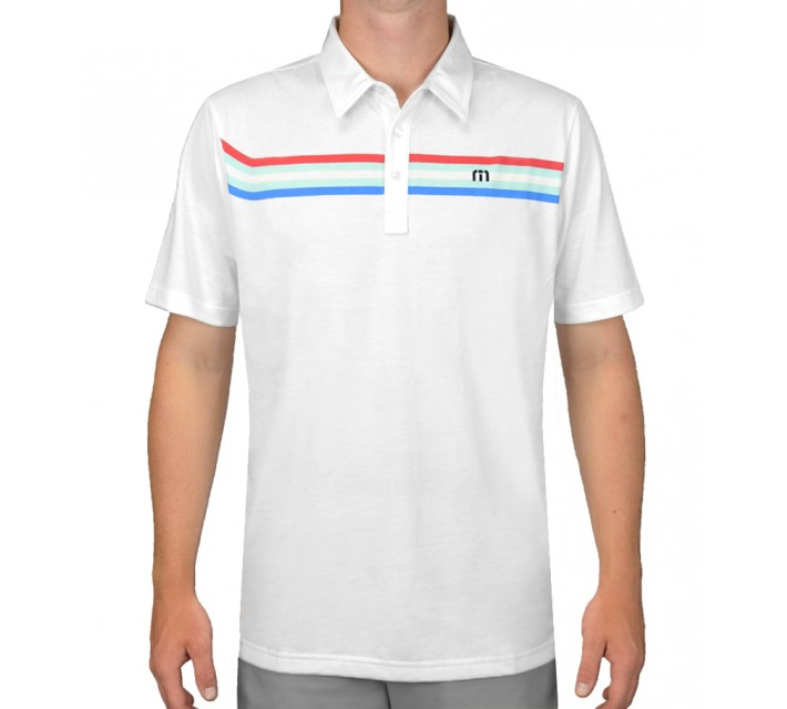 TRAVISMATHEW GOLF SHIRT BROWNING WHITE - AW15