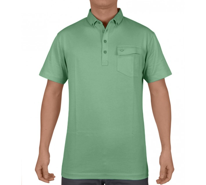 DEVEREUX BRUNNER JERSEY GOLF POLO SAGE - SS15