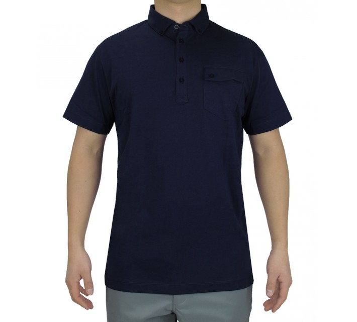 DEVEREUX BRUNNER JERSEY GOLF POLO NAVY - SS16