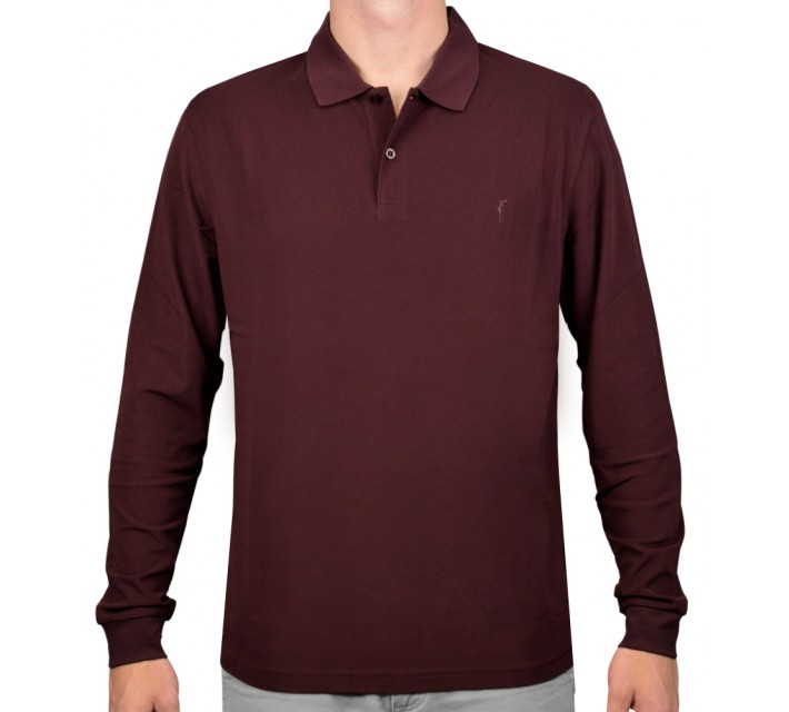 GOLFINO BRUSHED EXTRA DRY L/S POLO AUBERGINE - AW15