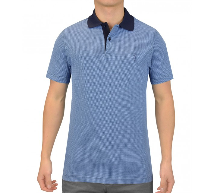 GOLFINO JERSEY JACQUARD BUBBLE POLO CHAMBRAY - SS15