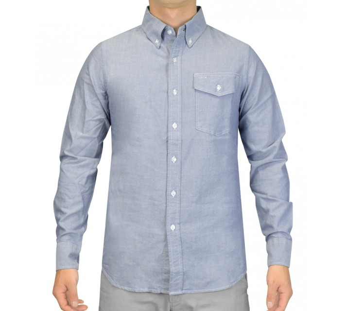 CRIQUET CHAMBRAY BUTTON DOWN SHIRT BLUE - SS15