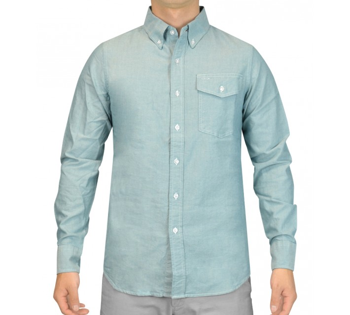 CRIQUET CHAMBRAY BUTTON DOWN SHIRT GREEN - SS15