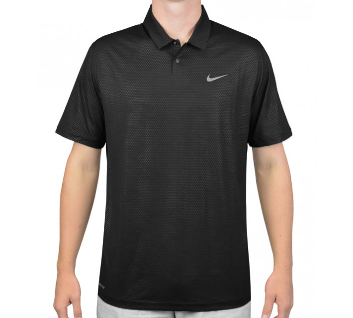 TIGER WOODS MOBILITY CAMO EMBOSS POLO BLACK - AW15 CLOSEOUT