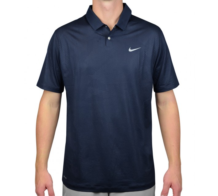 TIGER WOODS MOBILITY CAMO EMBOSS POLO MIDNIGHT NAVY - AW15 CLOSEOUT