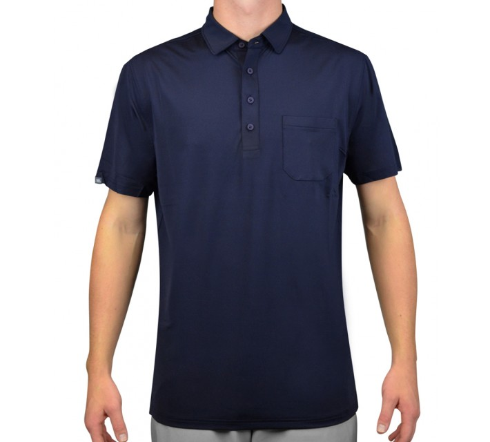 MATTE GREY CANNON GOLF POLO NAVY/GRAPHITE HEATHER - AW15