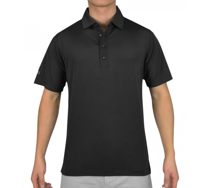 MATTE GREY CAPTAIN GOLF POLO BLACK - AW15