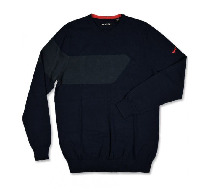 WOLSEY CARLO COLOR BLOCK CREW NECK SWEATER TOTAL ECLIPSE - SS16