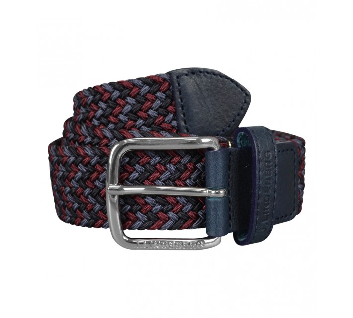 J. LINDEBERG CHAP ELASTIC BRAID BELT NAVY PURPLE - SS15