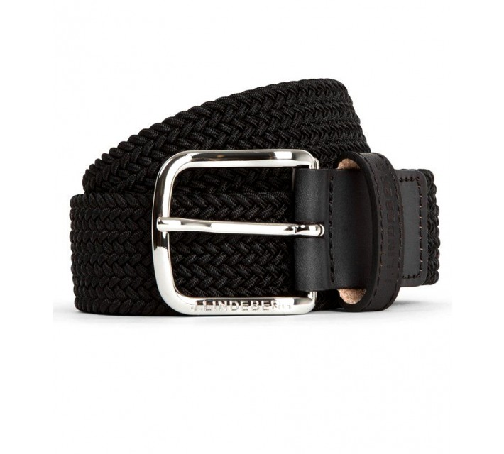 J. LINDEBERG CHAP SOLID ELASTIC BRAID BELT BLACK - AW16