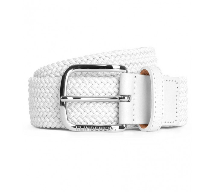J. LINDEBERG CHAP SOLID ELASTIC BRAID BELT WHITE - AW16