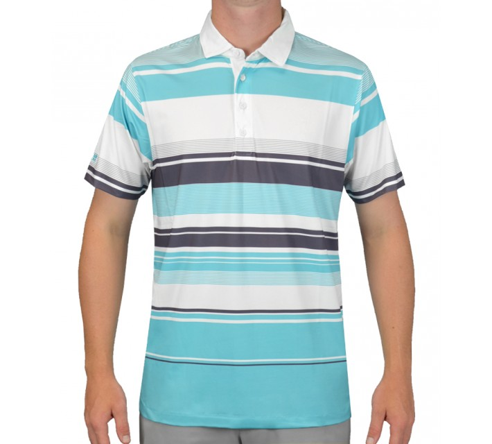 MATTE GREY CHARLESTON 2.0 POLO WHITE/TURQUOISE - SS15